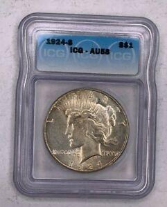 1924-S Peace Dollar ICG AU58 S$1 San Francisco Beautiful Coin No Reserve