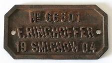 Vintage Czech Cast Iron Builders Plate Sign - 1904