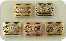 2 Hole Beads Aztec Southwest Pattern Squares 3T Silver Copper Gold Sliders QTY 5