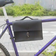 "Bicycle Frame Satchel Bag Handcrafted Natural Leather BLACK 11.8""x8.1""x2.2"""
