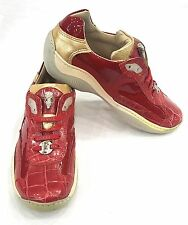 FENNIX ITALY WOMEN'S NAPPA PATENT CROC SNEAKER SHOES RED SIZE 6
