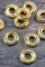 Lot of 10 Pieces Tibetan Silver 15mm Gold Golden Tone Donut Ring Spacer Beads