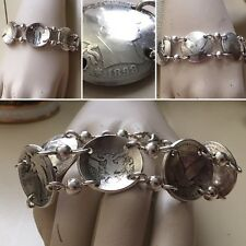 Antique Silver Coins / US Quarters Heavy Sterling Silver Bracelet