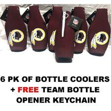 (6) Washington Redskins Logo Bottle Coolers Coozies + Keychain Free Ship
