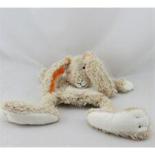 Doudou plat lapin beige blanc orange HAPPY HORSE - Lapin Plat / Semi plat