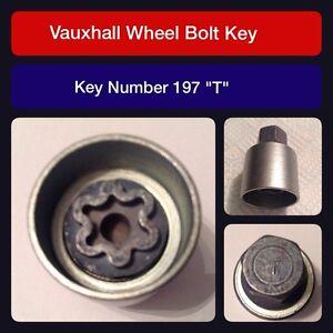 "Genuine Vauxhall Locking Wheel Bolt / Nut Key 197 ""T"""