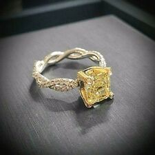 2.02 Ct Cushion Cut Fancy Yellow Diamond Engagement Ring VS1 18k Yellow and Plat