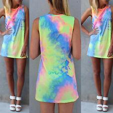Ladies Mini Cute Sundress Tie Dye Sleeveless Tank Top Summer Beach Leisure Dress