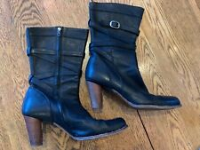 UGG Black Leather High Heel Short Boots Womens size 12