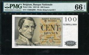 Belgium 1952-1959, 100 Francs, P129c, PMG 66 EPQ GEM UNC