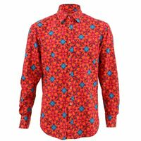 Men's Loud Shirt REGULAR FIT Abstract Red Retro Psychedelic Fancy