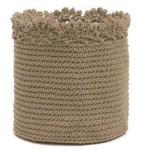 Tan Modé Crochet 6x6 Storage Basket, Crochet Edge, Food Safe, Machine Washable