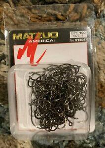 100 Matzuo 513014 Black Barbless Octopus Salmon Steelhead Fish Hooks size 1