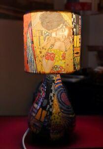 Small Klimt The Kiss Decoupage Teardrop Table Lamp Design Night Light Gift