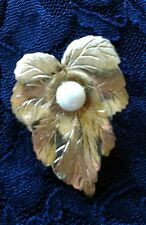 Vintage Sara Coventry Goldtone Leaf and Pearl Brooch Pin