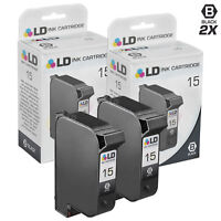 LD Remanufactured Replacements for HP 15 / C6615DN Black Ink Cartridges 2-Pack