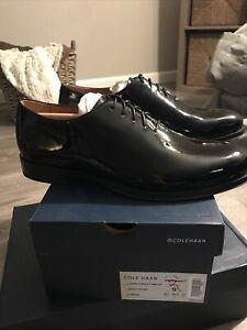Cole Haan Mens Gramercy Derby Wholecut Black Patent Oxford Dress Shoe Size 9.5 M