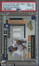 2003 Playoff Absolute Memorabilia Rookie Materials Alfonso Soriano PSA 10 POP 1