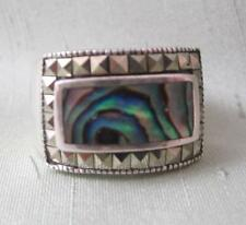 SIGNED FAS STERLING SILVER RING W/ABALONE  & SQUARE MARCASITE FRAME - SIZE 7.25