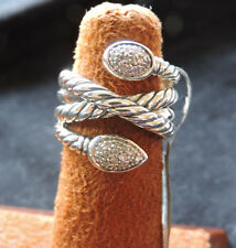 David Yurman Renissance Diamond Crossover Cable Sterling Silver Ring 7 NWT