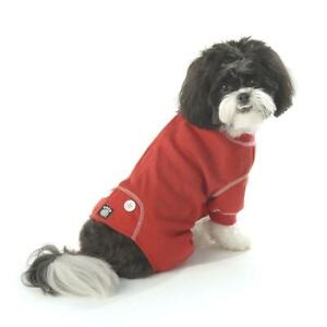 PetRageous Cozy Thermal Pajamas for Pets, Medium, Red With White Stitching - NWT