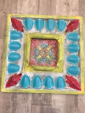 """Vintage Metal Ceiling Panel Colorful Hand Painted tin Large 23"""" X 23"""""""