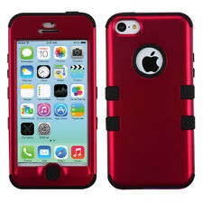 For Apple iPhone 5C Rubber IMPACT TUFF HYBRID Case Skin Phone Cover Red Black