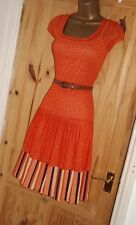 Orange vintage style retro 50s 60s 70s stretchy repro Mad Men tea dress sz 14 16