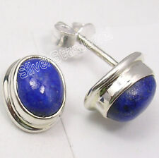 """925 Solid Silver LAPIS LAZULI Collectible Studs Earrings 0.5"""" Women's Jewellery"""