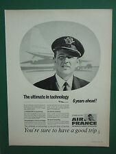 2/1969 PUB AIR FRANCE AIRLINE AVION CONCORDE SUPERSONIC AIRLINER ORIGINAL AD