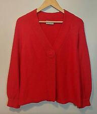 WALLIS Ladies Cardigan UK M Red One Button Close Cotton Blend Bell Sleeve Slouch