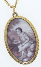 Antique French 19th C. 18K Gold Swiss enamel Hand Painted Pendant Necklace