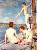 ZWPT685 3 nude naked young man gay on boat hand painted art oil painting canvas