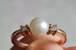 Ring Gr.59 (18,8 mm Ø) Diamanten Perle Gold 14K 585 4,17 gr.
