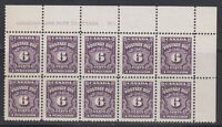 Canada #J19 6¢ POSTAGE DUE UR PLATE #1 BLOCK OF 10 MNH