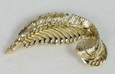 Gold-tone With Rhinestone Feather Brooch Pin Vintage
