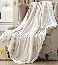 "Cream Faux Fur Sherpa Luxury Plush Light Weight Soft Throw Blanket 50"" x 70"""