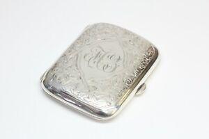 Antique Sterling Silver Cigarette Case - Hand Engraved - Monogrammed