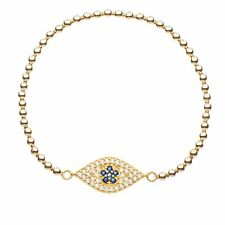 Evil Eye Bracelet 14k Yellow Gold Vermeil Beads + Protection | Alef Bet Jewelry