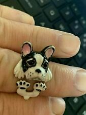 More details for dyadema enamel & sterling silver french bulldog or boston terrier dog ring m 6 1