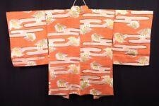 FAB Vintage Japanese Light Orange 'Butterflies & Mist' Kimono Haori Jacket 10-14