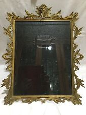 "LARGE ANTIQUE BAROQUE BRASS PICTURE FRAME ANGEL CHERUB 17"" X 14"" WALL OR MANTEL"