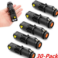 30PCS Mini CREE Q5 LED Flashlight Torch 1200LM Adjustable Focus Zoom Light Lamp