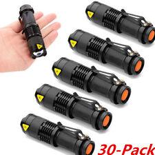 30PCS Mini CREE Q5 LED Flashlight Torch 1200LM Adjustable Focus Zoom Light Lamp