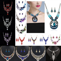 Fashion Women Boho Crystal Chunky Pendant Statement Choker Bib Necklace Jewelry