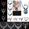 Fashion Women Boho Crystal Chunky Pendant Statement Choker Bib Necklace Jewelry
