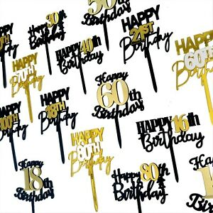 16th 18th 21st 40th 50th 60th 70th 80th Happy Birthday Cake Toppers AU STOCK