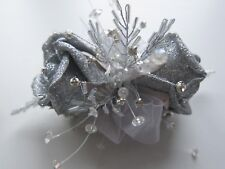 Silver Glitter Diamante Wrist Corsage Prom Wedding Flowers Rose Bride Mother