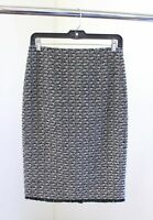 J Crew Womens the Pencil Skirt in Fringey Tweed Size 2 Wool Black White Frnge