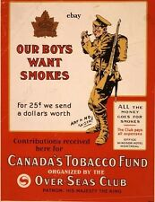 WW1 POSTER CANADA'S TOBACCO FUND FOR THE TROOPS NEW A4 PRINT CANADA